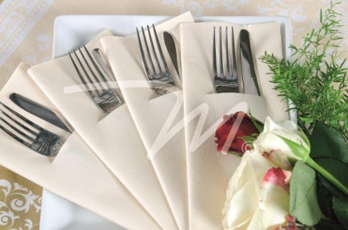 Pack of 100 Premium Quality Linen Feel Airlaid White Pocket Napkins - 40x40cm