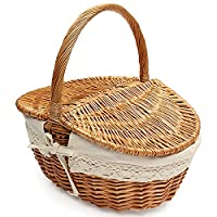 KING DO WAY Shopping Hamper Wicker Picnic Basket with Lid and Handle for Shopping Storage Picnic Max load weight 10kg 39cmx28cmx40cm