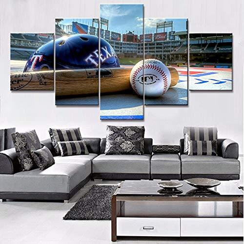 lsweia Moderne Leinwand Gemälde Wohnkultur HD Drucke Poster 5 Stücke Sport Helm Und Baseball Bilder Wohnzimmer Wandkunst Rahmen