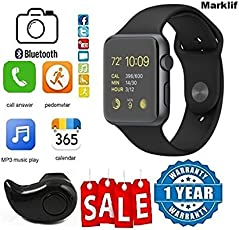 Marklif GT08 Bluetooth Smartwatch With Fitness Tracker & S530 Bluetooth Headset With Mic for Android/iOS Devices