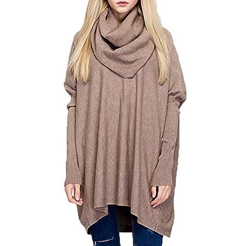 KiwiTwo Loose Women Asymmetric jumper hoodies sweatshirt blouse tops oversize tête de couverture manteau cape pull col rond chauve-souris chandail bordées Cardigan à manches longues irrégulière