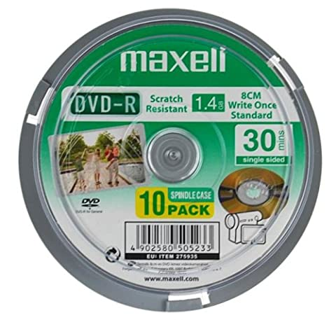 Maxell 8cm DVD-R Camcorder 10 Pack Spindle 30