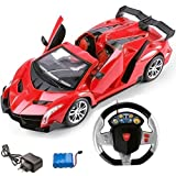 #5: Magicwand® 1:16 Scale R/C Rechargeable Lamborghini with Gravity Sensing Steering Remote (Red)