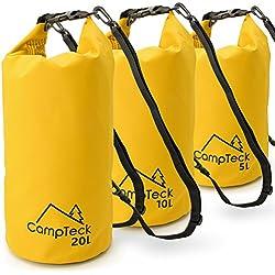 CampTeck Bolsas Estancas Bolsa Seco Impermeable Flotante para Acampar, Rafting, Pesca, Canotaje, Kayak, Snowboard, Natación, Buceo, etc. - 5 litros