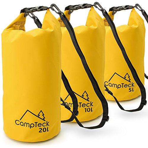 CampTeck Sac Etanche Nautique Sacs Imperméables Flottante pour Camping, Rafting, Pêche, Canoë, Canotage, Kayak, Snowboard, Natation, Plongée etc. – 10 Litres