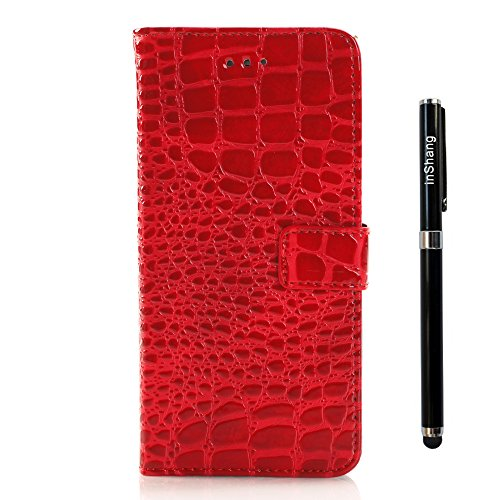 "inShang iPhone 6 Plus Coque iPhone 6+ 5.5"" Housse de Protection Etui pour Apple iPhone 6 5.5 Inch, Cuir PU de premiere qualite, + inShang Logo Qualite Pens Haute Stylet capacitif crocodile red"
