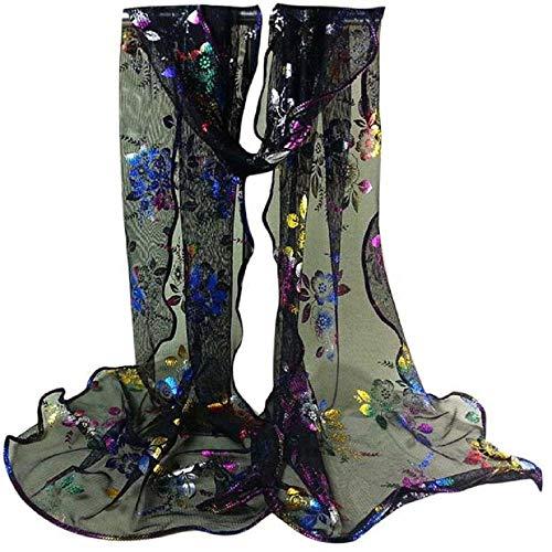 YEBIRAL Damen Schal Mode Accessoires Lace Gaze Blume Drucken Weich Tücher Halstuch 10 Farben(Schwarz) - Wollschal Mit Taschen