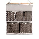 Yiuswoy Creative Hanging Storage Bag/Haengende Kombination/Wand Haengen Haengeaufbewahrung Fuer Schrank Tuer Wand, 5 Taschen Spleissen Mehrschicht-Aufbewahrungstasche - Braun