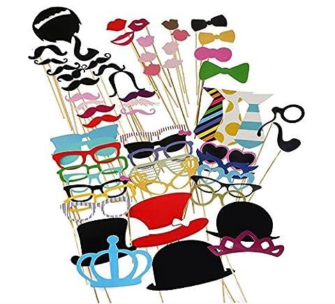 Malayas® 60Pcs Photo Booth Accessoires Moustache Photobooth Lunettes Coloré avec