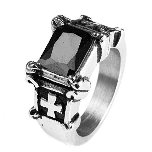 LAMUCH Motivo Moda gioielleria traversa dell'acciaio inossidabile dell'intarsio del nero della pietra preziosa anelli per gli uomo, Dimensione22