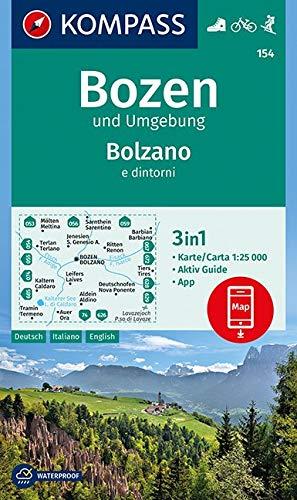 KOMPASS Wanderkarte Bozen und Umgebung, Bolzano e dintorni: 3in1 Wanderkarte 1:25000 mit Aktiv Guide inklusive Karte zur offline Verwendung in der ... Skitouren. (KOMPASS-Wanderkarten, Band 154)