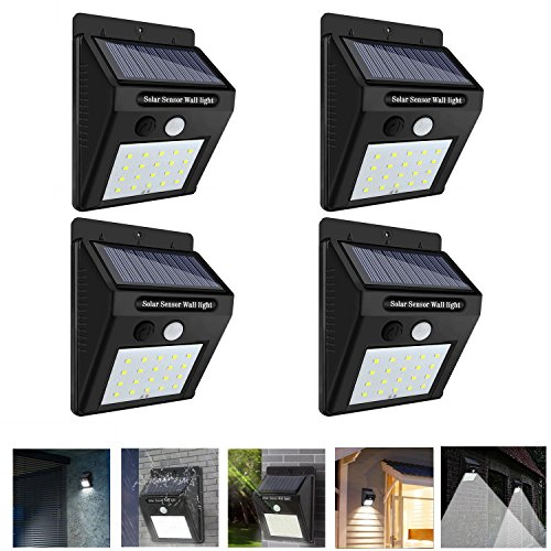 DAMIGRAM 4 Pack Focos Solares Exterior Luces de Seguridad Inalámbricas Impermeables con 20 LED Sensor de Movimiento Solar Inalámbrico para Jardín