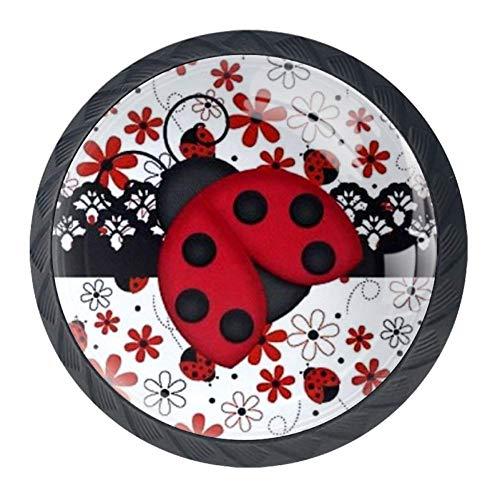 Sieben-Sterne-Marienkäfer rot Karikatur Kristallglas Möbelgriff mit Edelstahlschrauben 4 STÜCKE Möbelknöpfe Bunte Knöpfe Möbelschrank Schubladenknöpfe,Schubladengriff für Schlafzimmer Wohnzimmer -