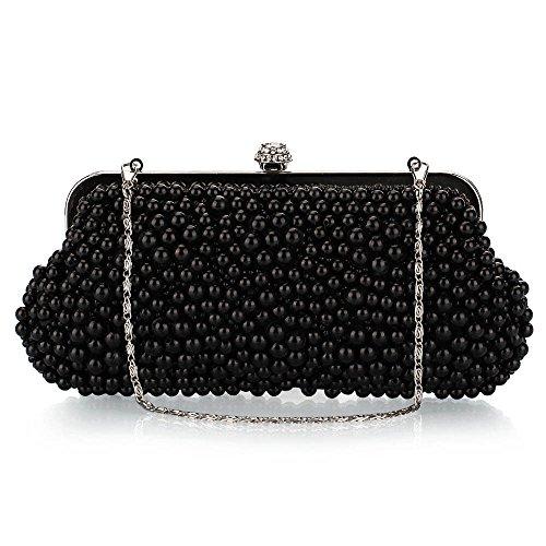 Kette Handmade Damen Umhängetasche Kupplung Schwarz mit HIDOUYAL Abendtaschen Clutches t0xwSz