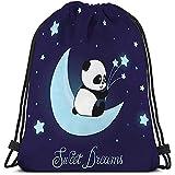 MOTALIN Mochila con Cordón,Bolsa De Gimnasio,Gym Bag,Saco Lindo Pequeño Oso Panda Luna Dulces Sueños Lindo Pequeño Oso Panda Luna Dulces Sueños Dibujo