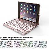 Carcasa Elecguru F8Smini para iPad Mini 4 de 7.9'' y teclado inalámbrico Bluetooth retroiluminado con 7 colores, mutiángulo y con soporte aleación de aluminio. rosegold