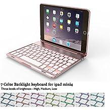 "iPad Mini 4Teclado Funda, elecguru f8smini + teclado inalámbrico Bluetooth Retroiluminado con 7-Color muti-angle soporte aleación de aluminio funda Protector Auto Sleep/Wake Up Clamshell Case Cover para iPad Mini 47.9"" rosegold"