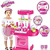 J K INTERNATIONAL Big Size Portable Suitcase Shape Musical Kitchen Set Toy for Kids with Light and Accessories