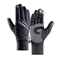Gloves Winter Warm Gloves,Double layer Thermal Touch Screen Black Gloves Waterproof Windproof Gloves Outdoor Leisure Skiing Cycling Driving Camping Hiking Heat Resistant Gloves for Men Women (Black L)