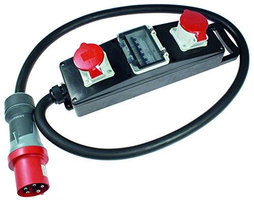as - Schwabe Stromverteiler Vollgummi-Steckdosenleiste S20+ - Baustellen-Leiste mit 5-poligem CEE-Stecker 400 V, 63 A auf 2 x 5-poliger CEE-Steckdosen 400 V, 32 A - IP44 - Made in EU - Schwarz I 60807 63