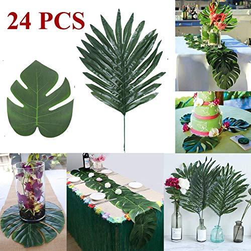 Minjinkea Künstliche Tropische Palmenmonsterblätter, 2 Arten für Zuhause, Party, Dschungel, Strand, Tischdekoration, Zubehör, 24 Stück