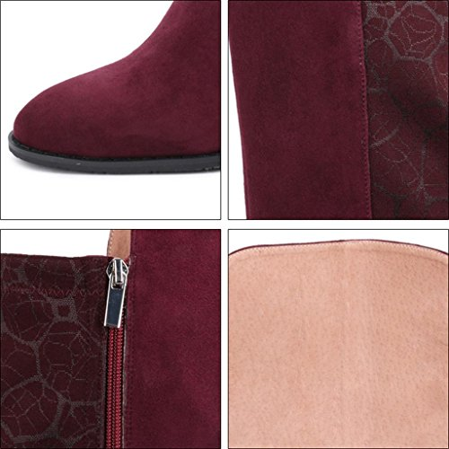 Ginocchio Style 32 RED donna Wide Calf piccole alti 32 Riding di dimensioni Heel Red Stivali Inverno Ginocchio da Low Ladies Stivali Biker BnHwq4xBP