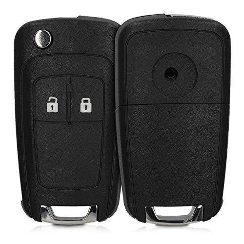 kwmobile Gehäuse für Opel Autoschlüssel - ohne Transponder Batterien Elektronik - Auto Schlüsselgehäuse für Opel Chevrolet 2-Tasten Klapp Autoschlüssel - Schwarz