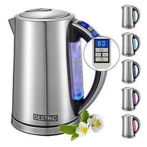 DESTRIC Edelstahl Wasserkocher mit Temperatureinstellung, 1.7L Teekessel mit LED Innenbeleuchtung, 2 Stunden Warmhaltefunktion für Babyernährung, Getränke, 5 Farbwechsel, Trockengehschutz (MEHRWEG)