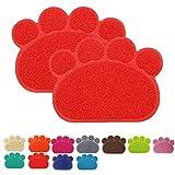 Premium Pet Tappetini Sottociotola per Cibo per Cani e Gatti, Impermeabile Antiscivolo Pet Feeding Bowl Pet Litter Trey Tappetino per Gatto e Cane, Piccolo, Set di 2, Rosso