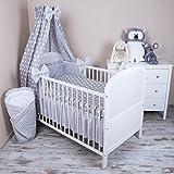 Amilian® Baby Bettwäsche 5tlg Bettset mit Nestchen Kinderbettwäsche Himmel 100x135cm NEU Pünktchen grau Vollstoffhimmel