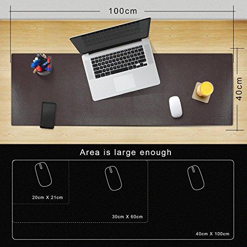 """cacoy PU Leder Schreibtischunterlage & Mate - 39.4\"""" L x 15.7\"""" W - Gaming Schreibunterlage & Mauspad Displayschutzfolie für Desktop-PCs und Laptops, Dunkel Braun"""