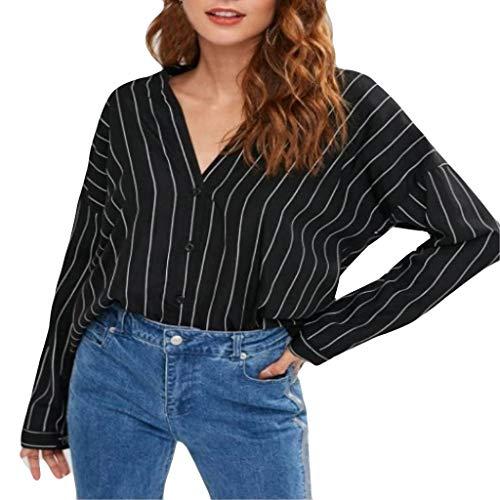generisch Damen Freizeit Lange Ärmel V-Ausschnitt Bluse Elegante Frauen Tunika Oberteile Vintage Hemd T-Shirt Frauen Lange Streifen Ärmel Plus Size Tank Karriere Bloues T-Shirt