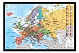 Europa Karte mit Flaggen Wall Chart Poster Kork Pinnwand, schwarzer Rahmen, 96,5x 66cm (ca. 96,5x 66cm)
