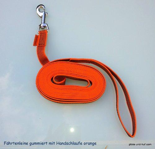 Artikelbild: elropet Gummierte Hundeleine Fährtenleine Schleppleine 15m mit Handschlaufe orange