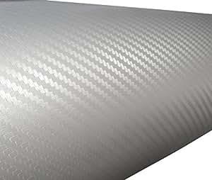 Aerzetix: 127/75cm Film adhésif Vinyle Fibre de Carbon Gris Clair thermoformable C17196
