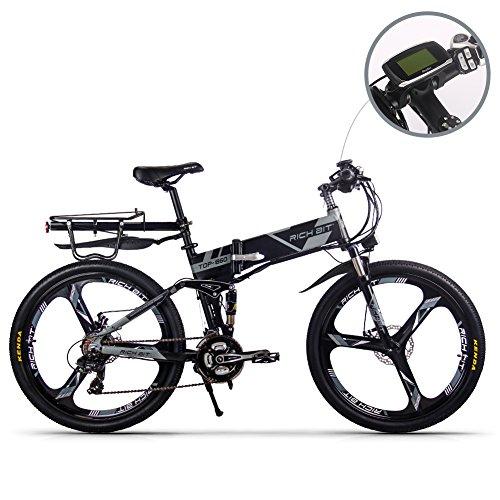 RICH BIT Elektrofahrräder aktualisiert RT860 36V 12.8A Lithium Batterie Faltrad MTB Mountainbike E Bike 17 * 26 Zoll Shimano 21 Speed Fahrrad intelligente Elektrofahrrad