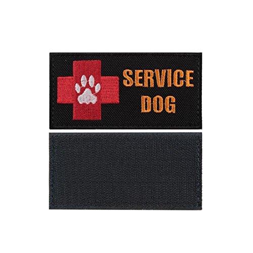 Yisibo Medic Patch 2 Stück bestickt Taktische medizinische Erste Hilfe Rote Kreuz Klett Moral Patches (Rechteck, SERVICE DOG-Schwarz)