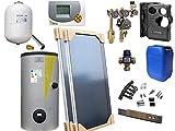 Solaranlage als Komplettsystem mit 2 Flachkollektoren (4,12m² Kollektorfläche), Oventrop Solarstation und Grundfos HE-Pumpe mit Brauchwassermischer, ausgelegt für 1-3 Personen