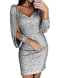 f70a258bab2394 skgardeniamy Abendkleider Damen Sexy V-Ausschnitt Bodycon Maxikleider Kleider  Elegant Glänzend Langarm Cocktailkleid Partykleider