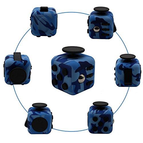 Fidget cube dadi di stress agitarsi cube allevia lo stress e l'ansia giocattoli articoli da regalo per bambini e adulti e la noia tutto a portata di mano suggerimenti per il lavoro class casa (blu e nero)