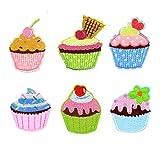Lumanuby Bunt Cupcake Patch Set von 6pcs Eis Kuchen für Kinder T-Shirt/Jacken Stickerei Applikationen Aufnäher von Dessert Form Zufällige Farbe, Aufnäher Serie Size 4.7 * 6.0cm