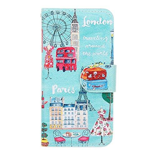 iPhone SE Hülle iPhone 5s Hülle iPhone 5 Hülle, Cozy Hut Handyhülle iPhone SE / 5 / 5S , PU Leder Tasche Hülle Schutzhülle Case Magnetverschluss Telefon-Kasten Handyhülle Standfunktion mit Kartenfach  London Paris und Rom
