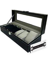 Caja de reloj vitrina organizador–6Ranura almohadas de terciopelo lote de lujo con tapa de cristal piel sintética cierre de metal–Cas de 'Lux