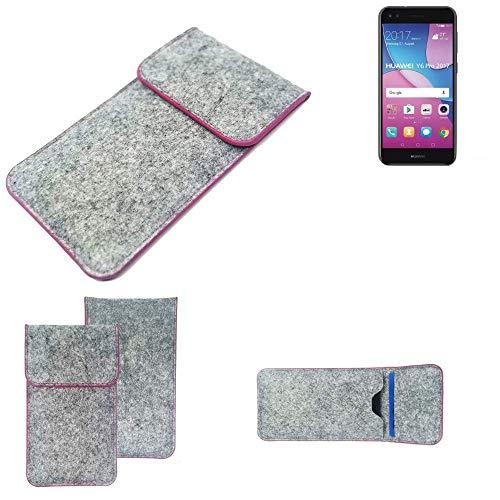 K-S-Trade® Filz Schutz Hülle Für -Huawei Y6 Pro 2017 Dual SIM- Schutzhülle Filztasche Pouch Tasche Case Sleeve Handyhülle Filzhülle Hellgrau Pinker Rand