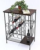 DanDiBo Weinregal HX12977 Flaschenständer 83 cm Metall und Holz Flaschenhalter Regal Bar