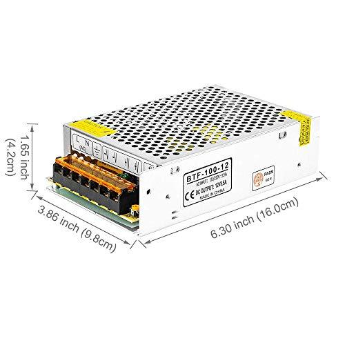 BTF-LIGHTING DC12V 8.5A 102W Aluminium Netzteil für WS2811 5630 5050 LED-Streifenmodule Licht