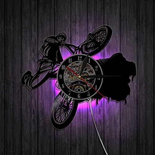 YNMB KS 1 Stück Reiten Fahrräder BMX Sport Uhren Dirt Bike Track Racks Schallplatte Wanduhr Fahrrad Wand Kunst Dekor für Wohnzimmer