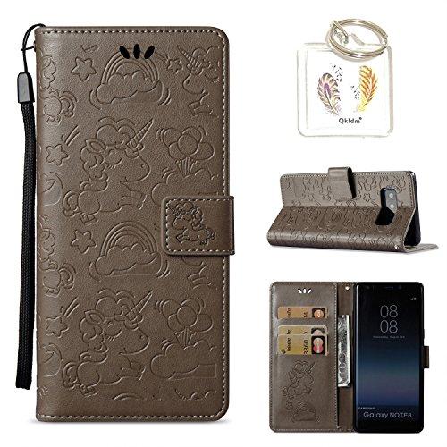 Preisvergleich Produktbild für Samsung Galaxy Note 8 Hülle Geprägte Muster Handy PU Leder Silikon Schutzhülle Handy case Book Style Portemonnaie Design für Samsung Galaxy Note 8 + Schlüsselanhänger/*133) (3)