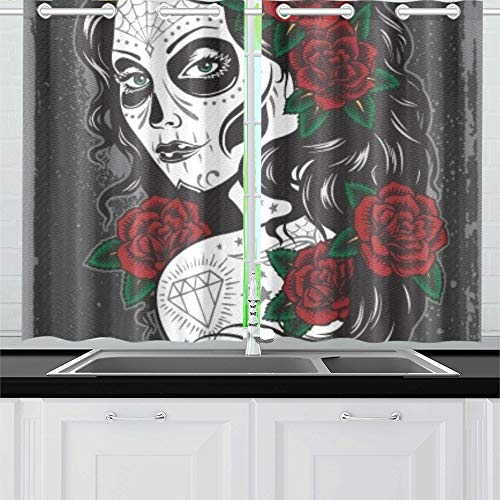 Küchenvorhänge Fenster Vorhangstufen für Café, Bad, Wäscherei, Wohnzimmer Schlafzimmer 26 x 39 Zoll 2 Stück ()