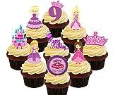 9e anniversaire Princesse–comestible pour cupcakes–montant comestible gâteau Décorations, Pack of 36